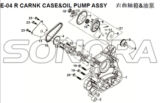 E-04 R CARNK CASE&OIL PUMP ASSY for XS125T-16A Fiddle III Spare Part Top Quality