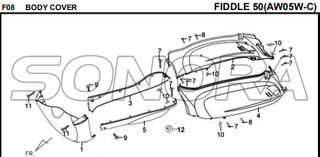 F08 BODY COVER FIDDLE 50 AW05W-C For SYM Spare Part Top Quality