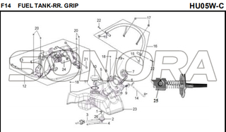 F14 FUEL TANK-RR. GRIP for HU05W-C MIO 50 Spare Part Top Quality